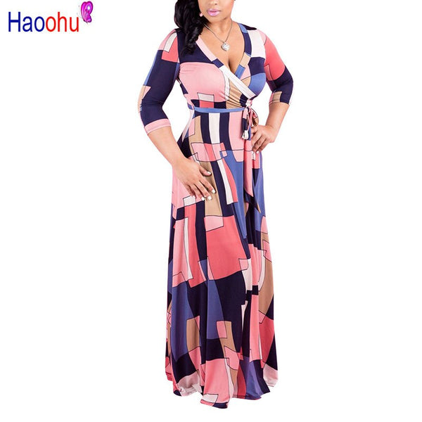 Long Maxi Dress Print Plus Size Sexy Casual Summer Beach Clothes Women Vestidos  Elegant Robe Boho Party Club Dress - African Clothing Online