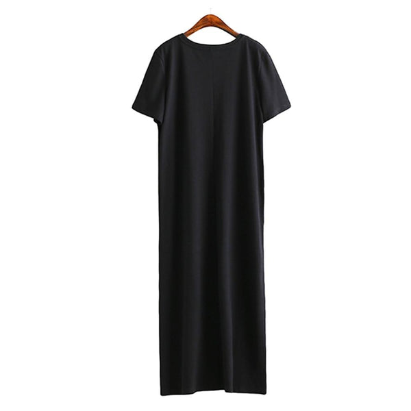Maxi T Shirt Dress Women Summer Beach Casual Sexy Boho Elegant Vintage Bandage Bodycon Wrap Black Split Long Dresses Plus Size - African Clothing Online