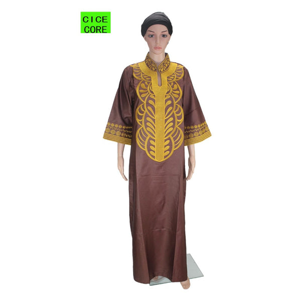 african new bazin embroidery dresses long dress without  scarf soft material