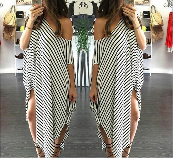 WEPBEL Women's Sexy Maxi Dress Striped Loose Long Dress Casual Side Split Kaftan Sundress - African Clothing Online
