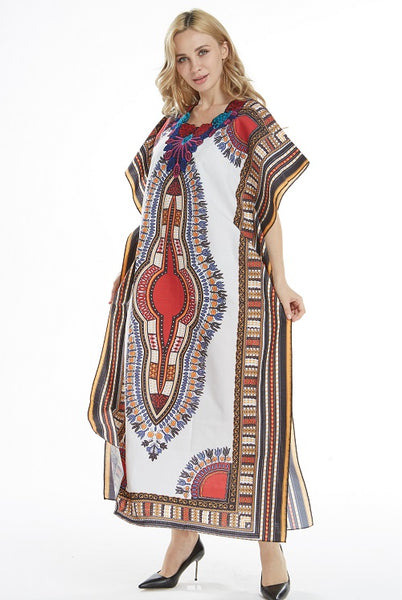 Dashikiage New Arrival Women's 100% Cotton African Print Dashiki Stunning elegant African Ladies Dress - African Clothing Online
