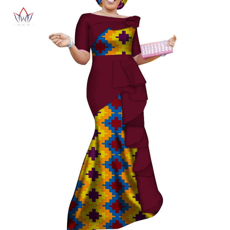 Vestidos African Dresses for Women 2019 Dashiki Elegant Party Dress Plus Size Srapless Traditional African Clothing (S-M)