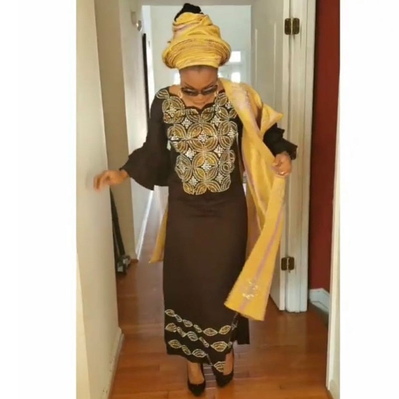 African dress for women plus size dresses with head wraps women\'s  embroidered maxi dress 2019 dashiki African clothes