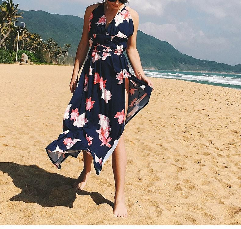 african-clothing-online,2019 Women's Deep V Neck Sexy Dress Backless Spaghetti Strap Floral Dress Casual Long Maxi Dress,fireselldeals,