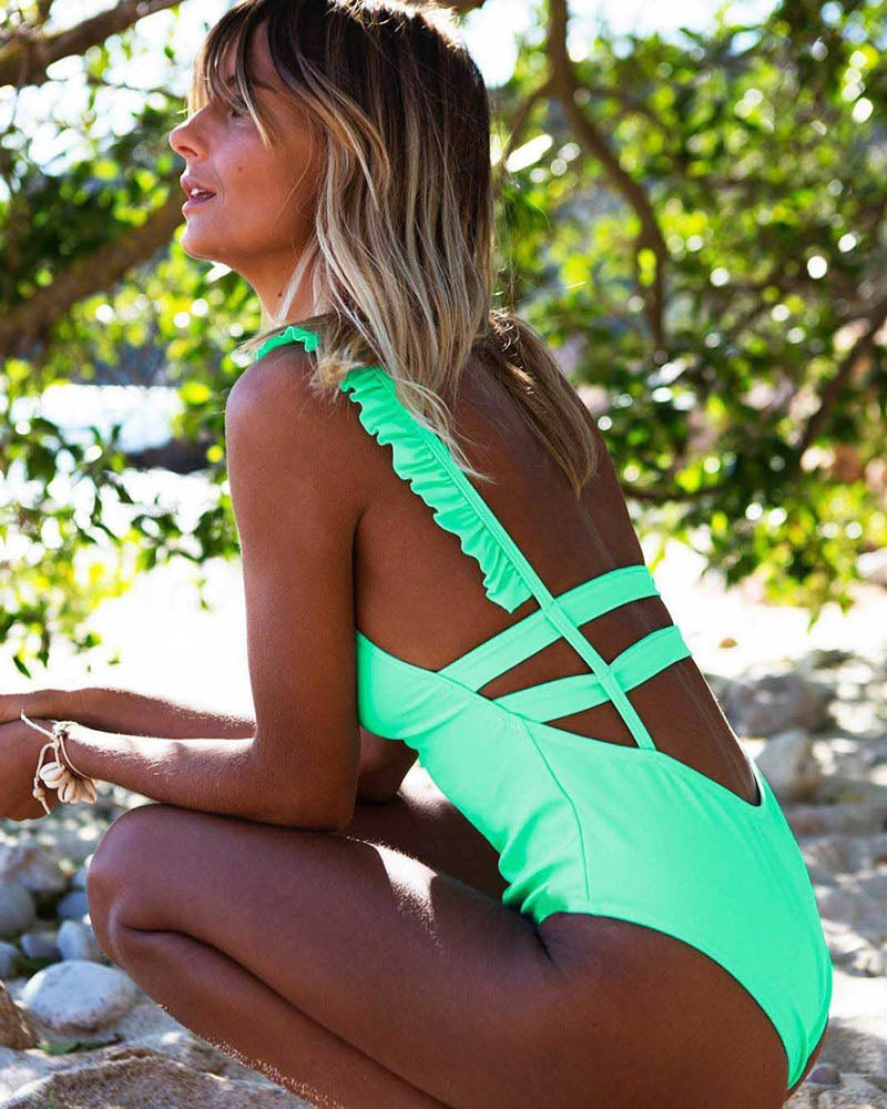african-clothing-online,Sexy One Piece Swimsuit Women 2019 Summer Beachwear Lace One Shoulder Swimwear Bathing Suits Bodysuit Monokini Swimsuit,African Clothing Online,