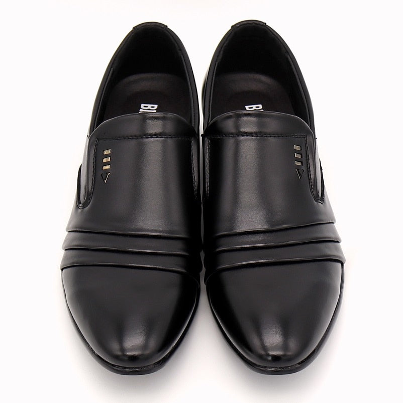 BIMUDUIYU Luxury brand PU Leather Fashion Men Business Dress Loafers Pointy Black Shoes Oxford Breathable Formal Wedding Shoes