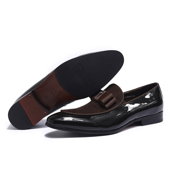 Handmade Genuine Patent Leather And Nubuck Leather Patchwork With Bow Tie Men Wedding Black Dress Shoes Men's Banquet Loafers - African Clothing Online