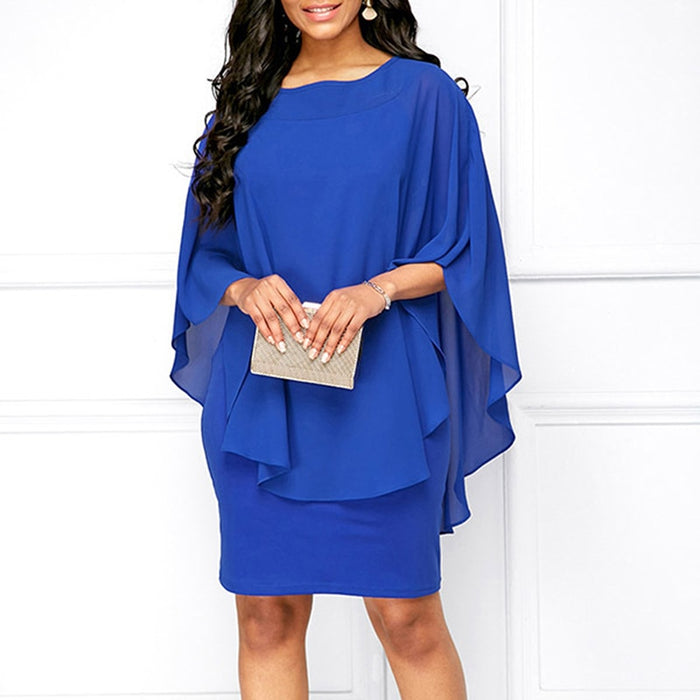 Women Mini Dress 2018 Summer Style Solid Color O-Neck Casual Loose Plus Size Dresses Vestidos Casual Beach Dress - African Clothing Online