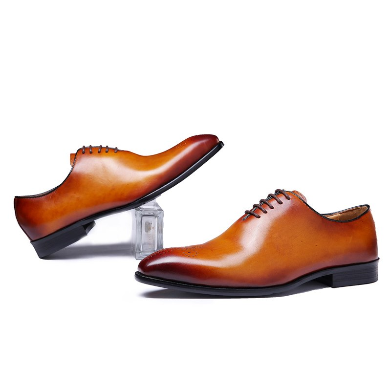 FELIX CHU Brand Classic Genuine Leather Men Whole Cut Plain Oxford Lace Up Wedding Party Man Brown Dress Shoes Brogue Carved