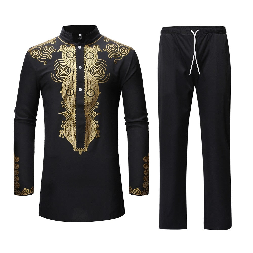 african-clothing-online,Black African Dashiki Print Top Pant Set 2 Pieces Outfit Set 2019 Traditional Men African Clothes Casual African Suit for Men,African Clothing Online,