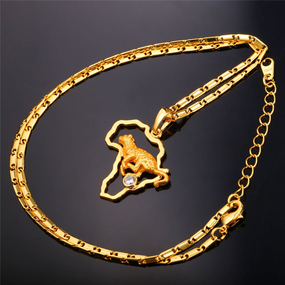 U7 New Hot Gold Color African Jewelry leopard Necklaces&Pendants for Men Women Bijoux Africa Map Necklaces Wholesale P919