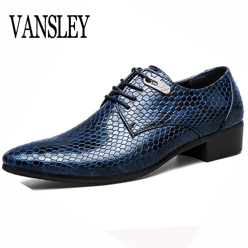 New Imitate Snake Leather Men Oxford Shoes Lace Up Casual Business Men Pointed Shoes Brand Men Wedding Men Dress Boat Shoes