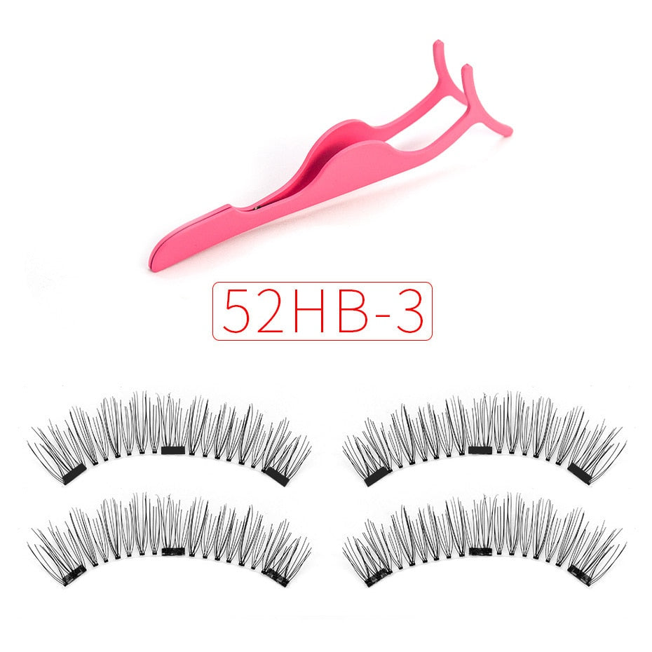 Shozy Magnetic eyelashes with 3 magnets magnetic lashes natural false eyelashes magnet lashes with eyelashes applicator-24P-3 - African Clothing Online