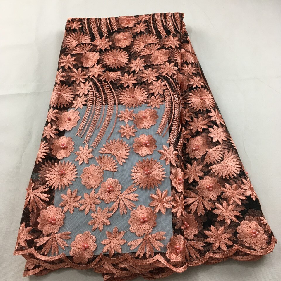 African lace fabric 2019 high quality lace french mesh fabric beaded stones Nigerian Swiss lace fabrics for dressHX09