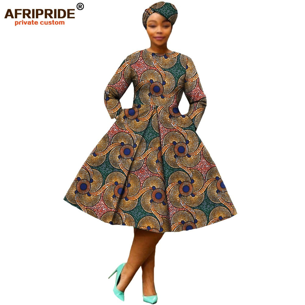 african-clothing-online,african clothing 2019 autumn women dress AFRIPRIDE full sleeve calf-length ball grown women casual dress with headscraf A7225111(P2),African Clothing Online,