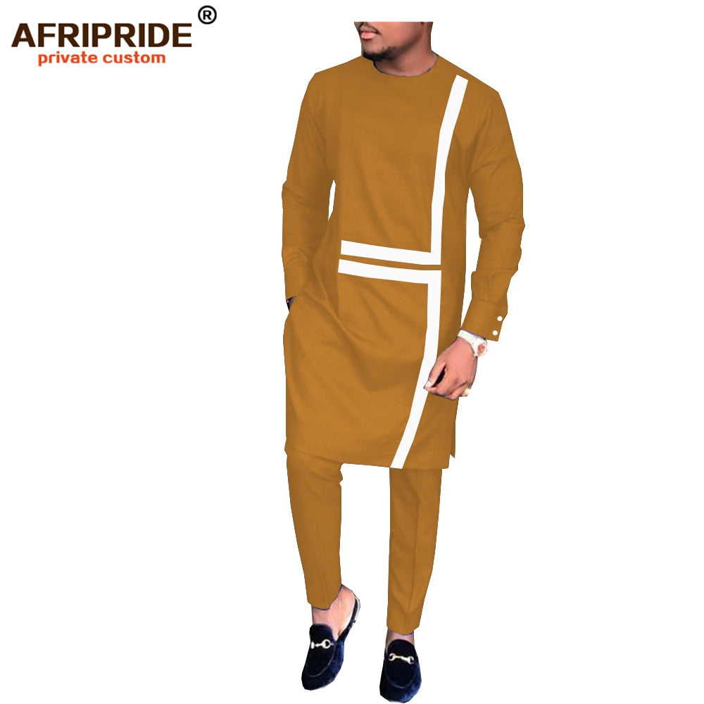 2019 spring&autumn african set for men AFRIPRIDE tailor made full sleeve long top+full length pants men's casual set A1816008(P2)