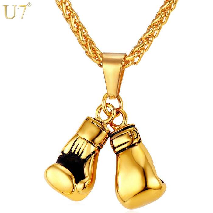 U7 Men Necklace Gold Color Stainless Steel Hip Hop Chain Pair Boxing Glove Pendant Charm Fashion Sport Fitness Jewelry Wholeslae