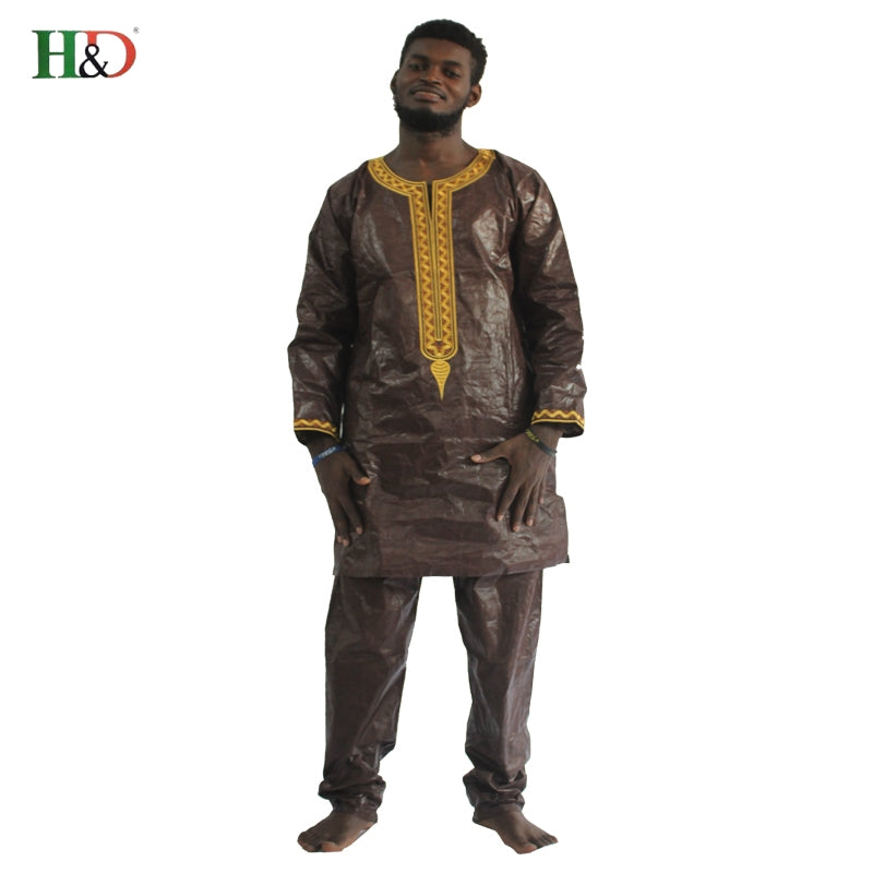 H&D african clothes for men dashiki fabric suits mens bazin riche clothing africa dresses male  men tops shirts pants set 2 pcs