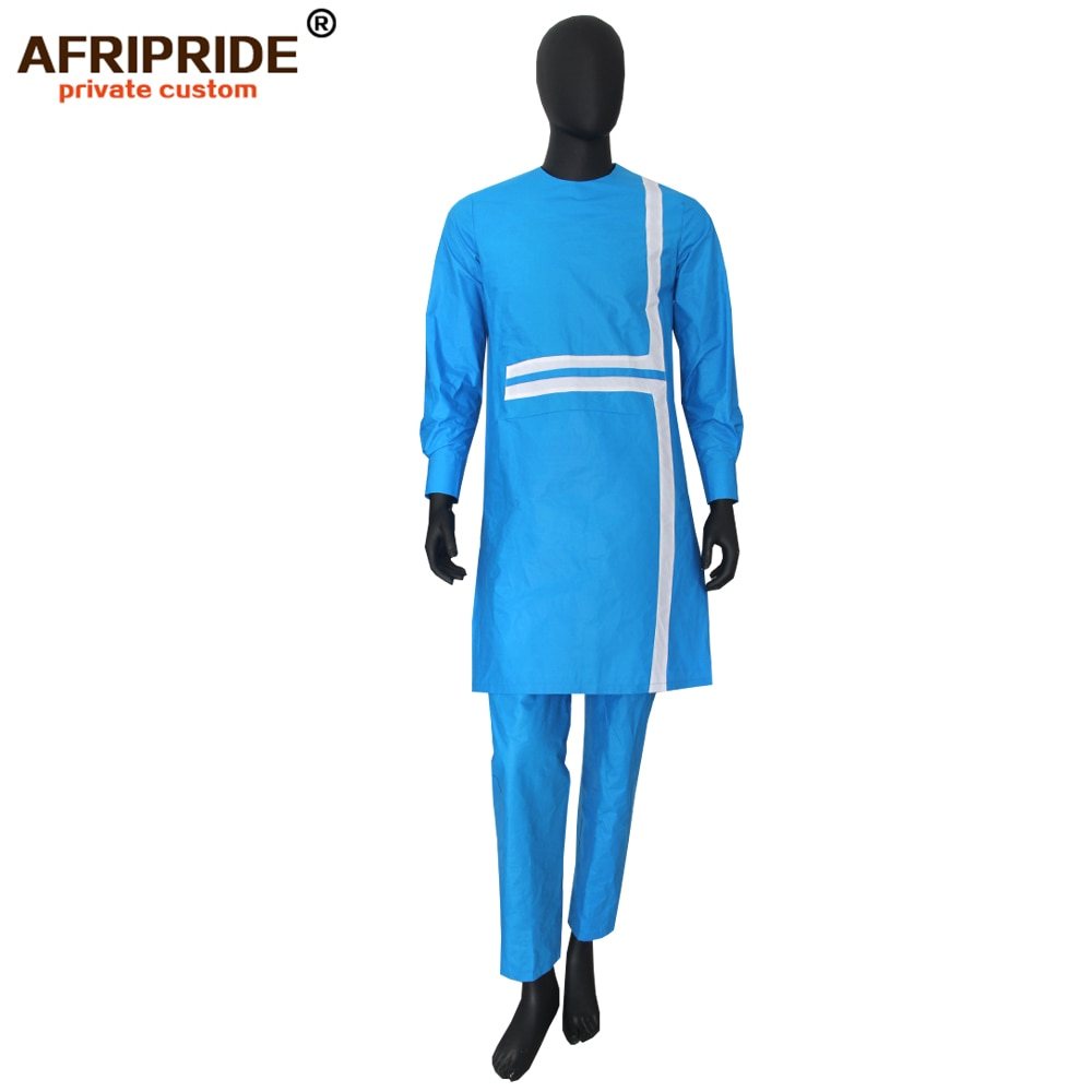 2019 spring&autumn african set for men AFRIPRIDE tailor made full sleeve long top+full length pants men's casual set A1816008