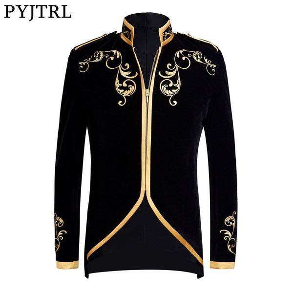 PYJTRL British Style Palace Prince Fashion Black Velvet Gold Embroidery Blazer Wedding Groom Slim Fit Suit Jacket Singers Coat - African Clothing Online
