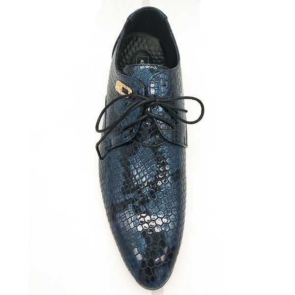 New Imitate Snake Leather Men Oxford Shoes Lace Up Casual Business Men Pointed Shoes Brand Men Wedding Men Dress Boat Shoes - African Clothing Online