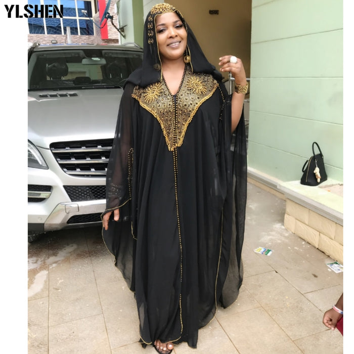 Dashiki African Dresses for Women Diamond Beads Plus Size African Clothes Abaya Dubai Robe Evening Long Muslim Dress Hooded Cape