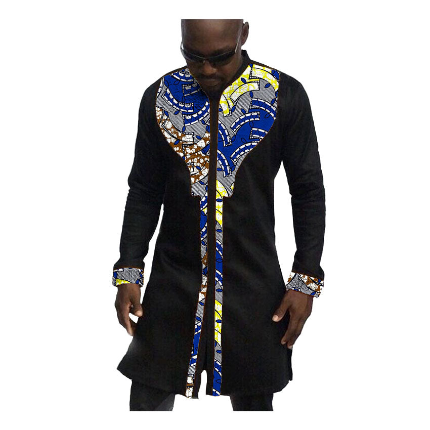 african-clothing-online,African print mens shirts fashion man dress shirt male dashiki ankara cotton and wax patchwork long style shirt customized,African Clothing Online,