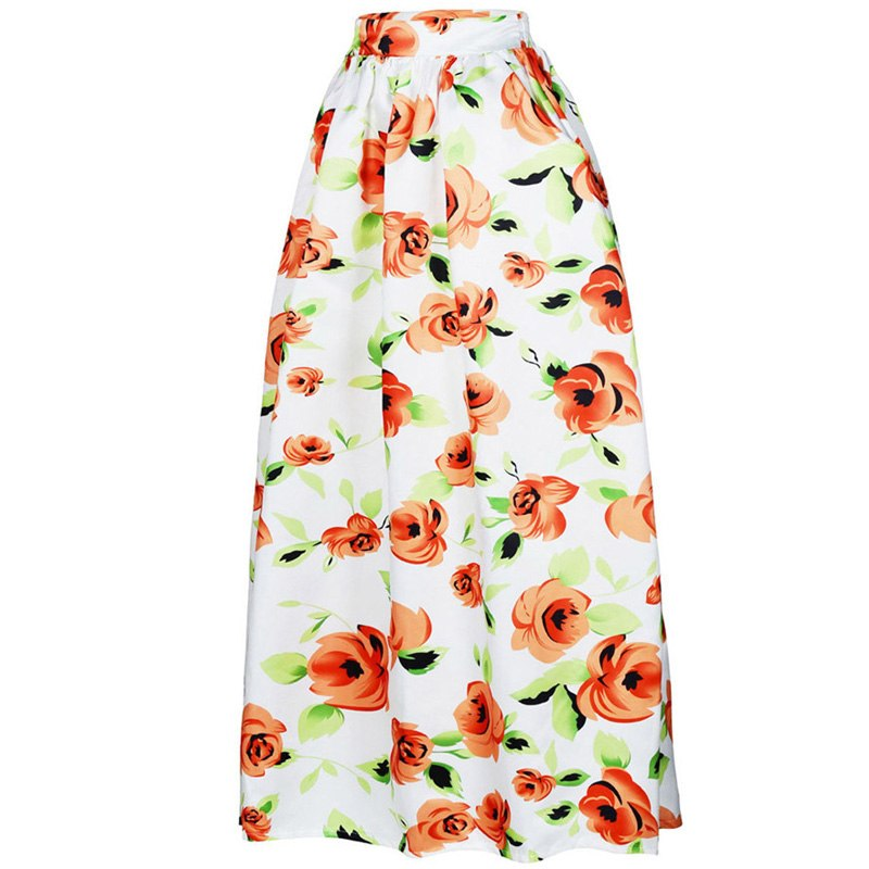 african-clothing-online,2018 women African Dashiki elastic Autumn winter summer Maxi beach skirt Floral print High Waist Pleated floor length long skirt,African Clothing Online,