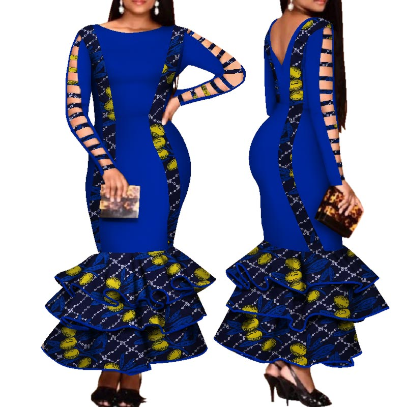 African Dress for Women Hollow Bandage Long Sleeve Mermaid Maxi Dresses Women Plus Size Sexy Backless Wedding Party Dress pt2 - African Clothing Online