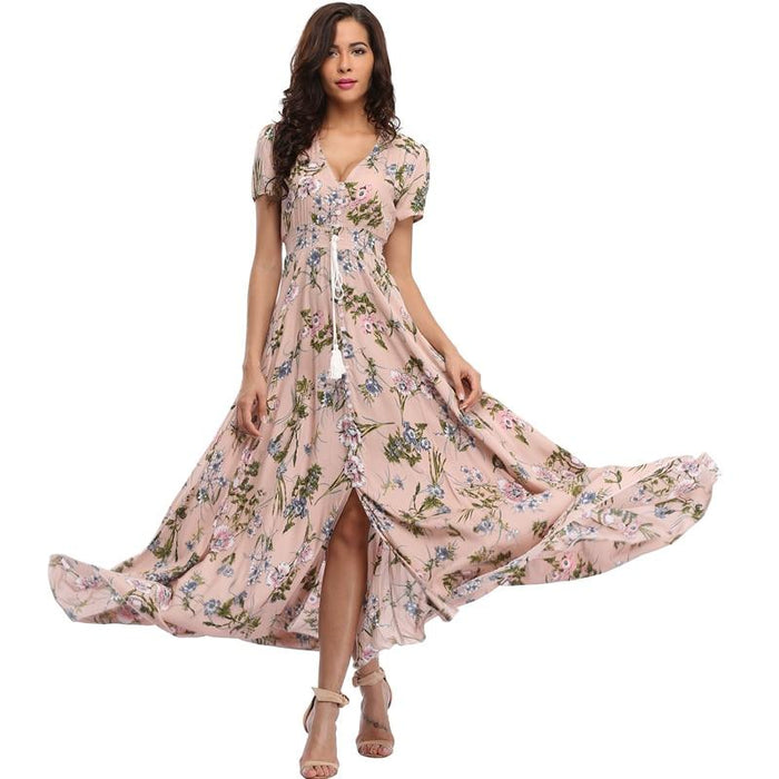 2018 Long Summer Floral Maxi Dress Women Flower Print Casual Split Beach Dress Ladies Elegant Cotton Vintage Boho Party Dresses