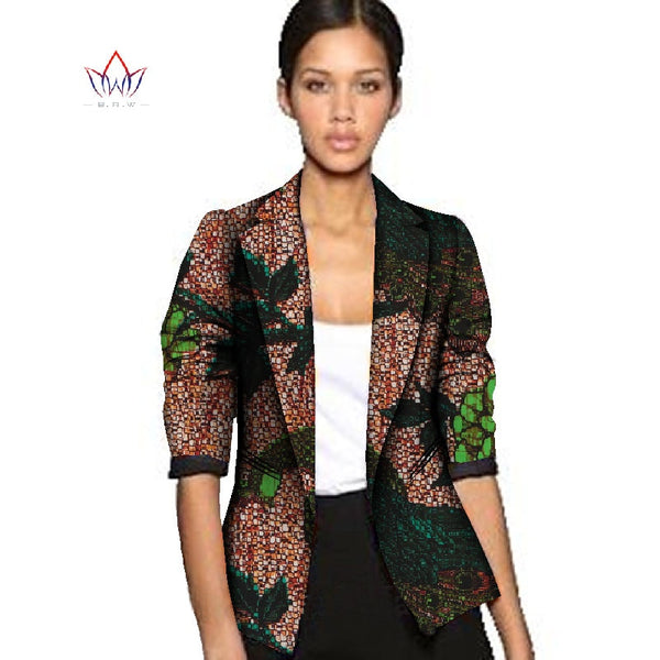 Dashiki African Wax Jacket Print Clothes for Women Suit Full Sleeve Notched Plus Size 6xl African Cotton Jacket Coat WY056 - African Clothing Online