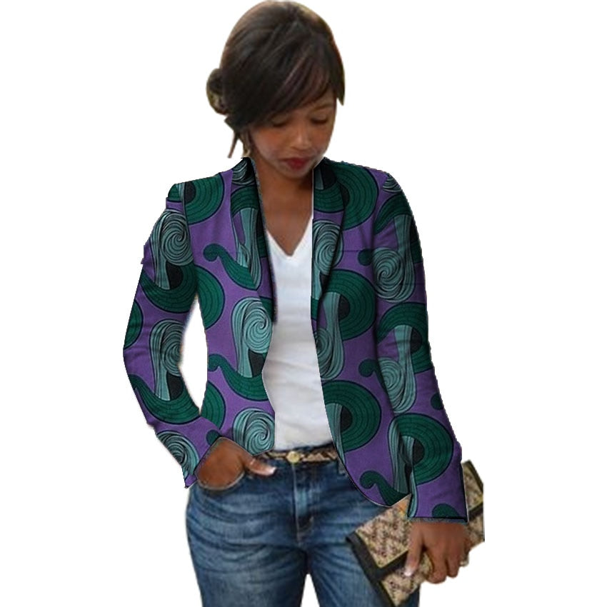 Fashion African print women blazers Shawl Collar design female dashiki blazer for ladies Ankara suit coat in Africa clothing