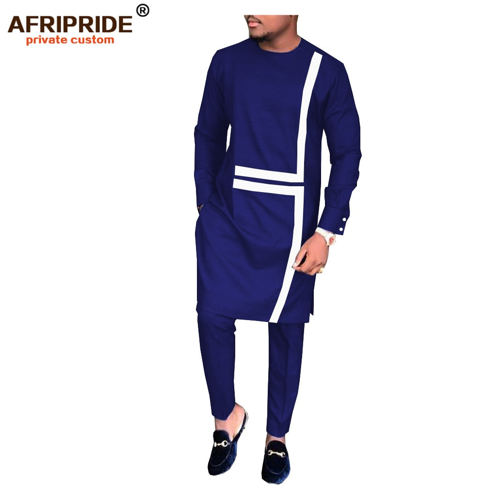 2019 spring&autumn african set for men AFRIPRIDE tailor made full sleeve long top+full length pants men's casual set A1816008(P3)