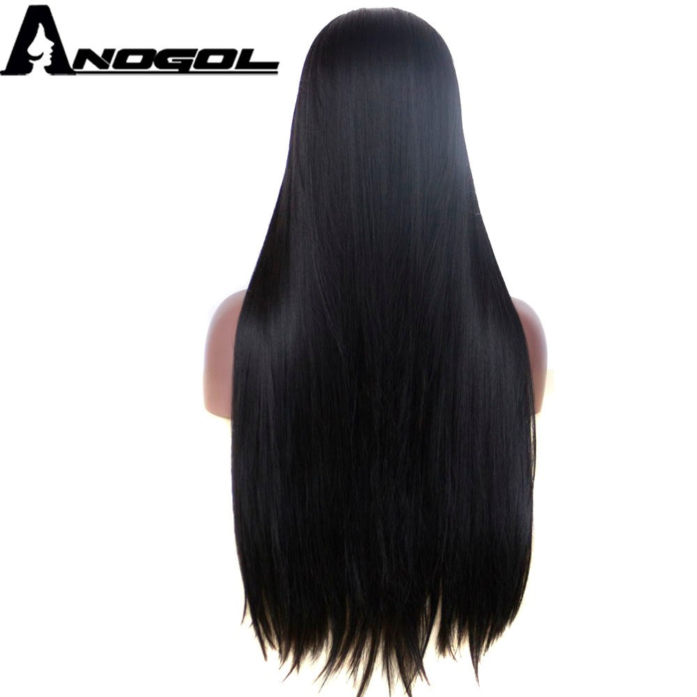 african-clothing-online,Anogol 1B Black High Temperature Fiber Hair Wigs Middle Part Long Straight Synthetic Lace Front Wig for African American Women,African Clothing Online,
