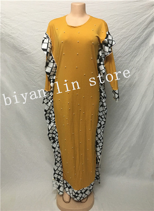 african-clothing-online,Dress Length:140cm. Bust:96cm~116cm.2018 New fashion African Elastic Bazin with beads Style Dashiki long Sleeve Famous dresses,African Clothing Online,African Dresses and Skirts