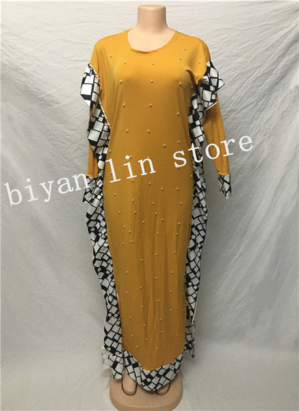 Dress Length:140cm. Bust:96cm~116cm.2018 New fashion African Elastic Bazin with beads Style Dashiki long Sleeve Famous dresses - African Clothing Online
