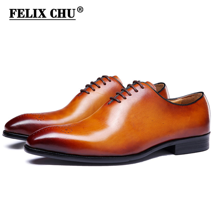 african-clothing-online,FELIX CHU Brand Classic Genuine Leather Men Whole Cut Plain Oxford Lace Up Wedding Party Man Brown Dress Shoes Brogue Carved,African Clothing Online,