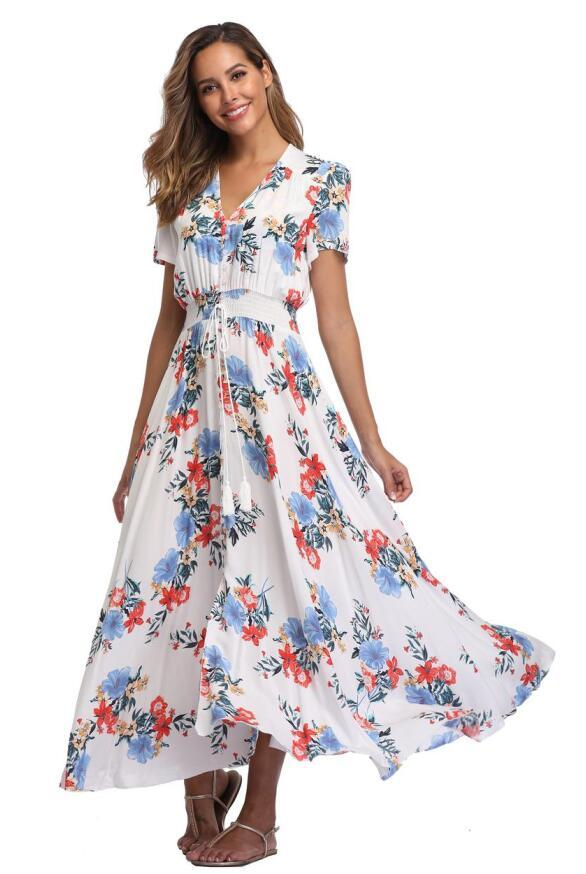 african-clothing-online,2018 Long Summer Floral Maxi Dress Women Flower Print Casual Split Beach Dress Ladies Elegant Cotton Vintage Boho Party Dresses (L-XXL),fireselldeals,