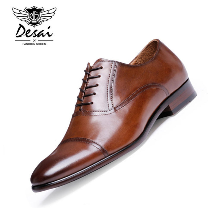 DESAI Brand Full Grain Leather Business Men Dress Shoes Retro Patent Leather Oxford Shoes For Men Size EU 38-47 - African Clothing Online