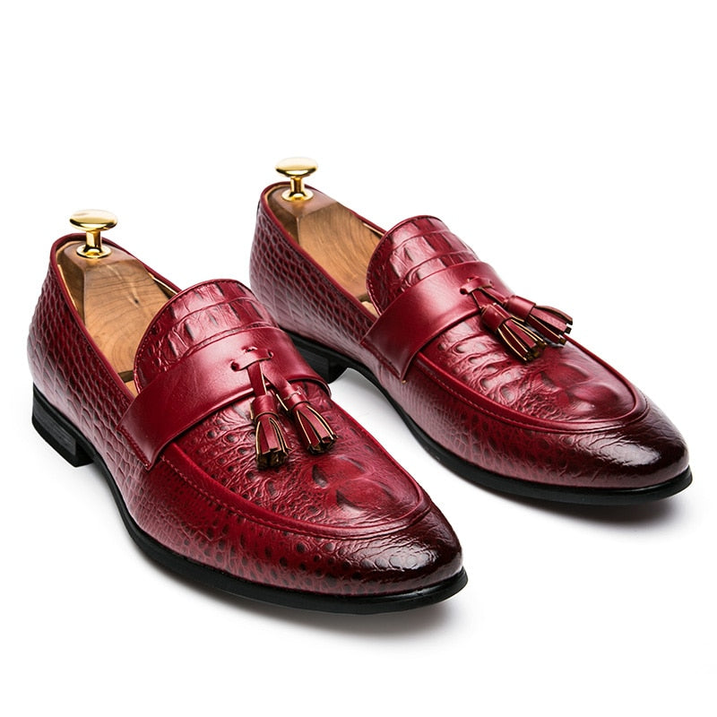 mens tassel shoes leather italian formal snake fish skin dress office footwear luxury brand fashion elegant oxford shoes for men
