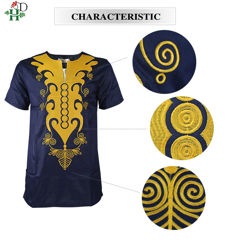 H&D african dashiki t shirt for men short sleeve men's shirts traditional african embroidered tops gold dark blue clothes 2019 - African Clothing Online
