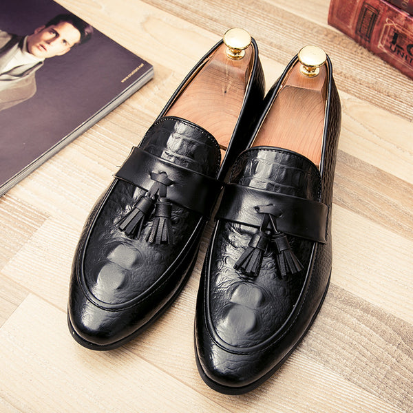 mens tassel shoes leather italian formal snake fish skin dress office footwear luxury brand fashion elegant oxford shoes for men - African Clothing Online