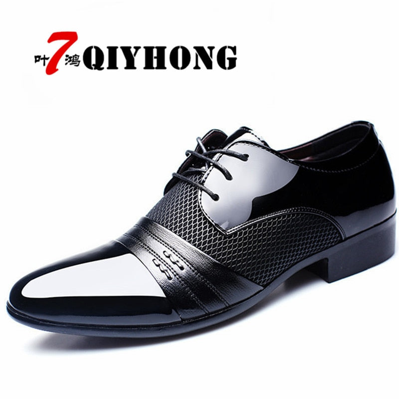 QIYHONG Brand Men Dress Shoes Plus Size 38-48 Men Business Flat Shoes Black Brown Breathable Low Top Men Formal Office Shoes - African Clothing Online