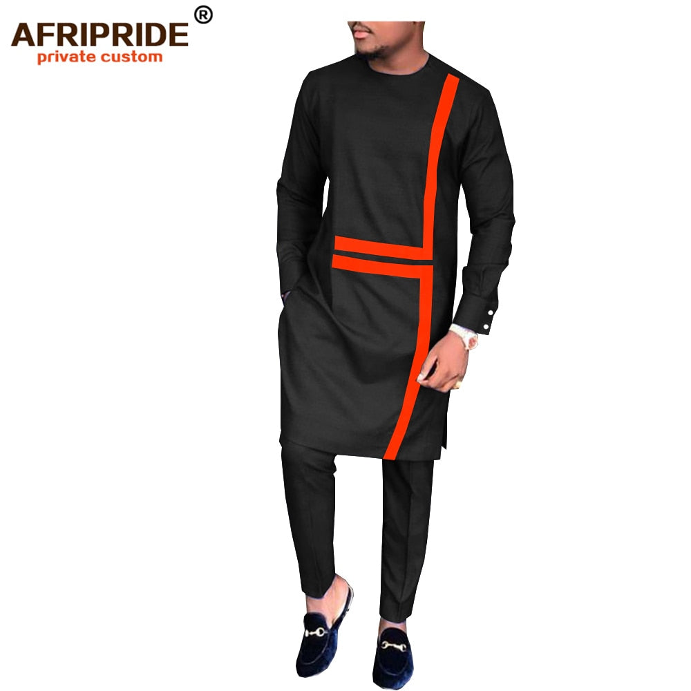 2019 spring&autumn african set for men AFRIPRIDE tailor made full sleeve long top+full length pants men's casual set A1816008(P1)