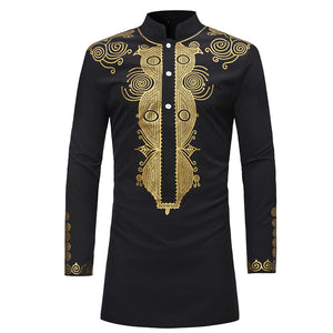 African Dashiki Shirt Men 2018 Spring Autumn New Stand Collar Long Sleeve Shirt Men Casual African Clothing Camisas Para Hombre - African Clothing Online