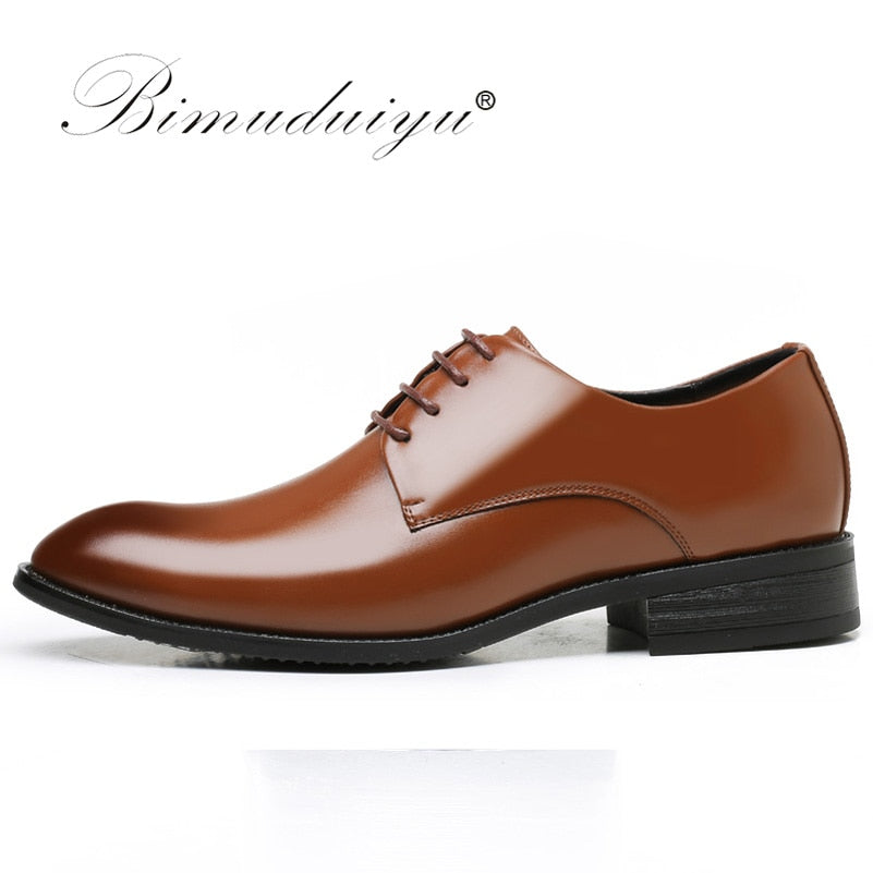 BIMUDUIYU luxury Brand Classic Man Pointed Toe Dress Shoes Mens Patent Leather Black Wedding Shoes Oxford Formal Shoes Big Size - African Clothing Online