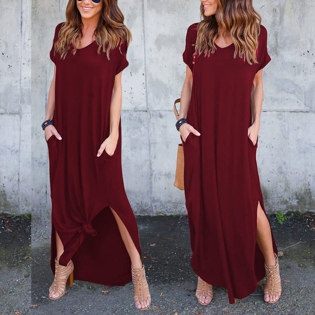 african-clothing-online,Women's Casual Loose Pocket  Long Dress Short Sleeve Split Maxi Dresses,fireselldeals,