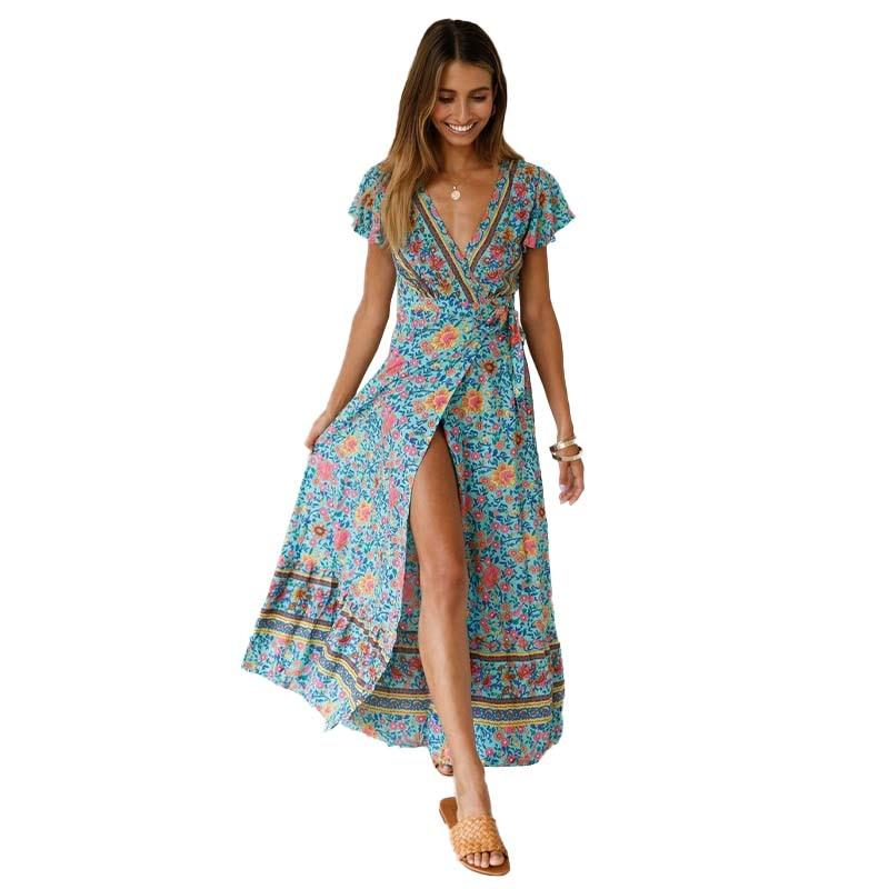 LIVA GIRL Bohemian Floral Print Beach Maxi Dress 2019 Summer Women Sexy Wrap V Neck Short Sleeve Split Boho Long Party Dresses - African Clothing Online