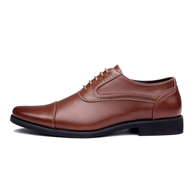 men leather working shoes luxury brand italian eurpean style pointed toe elegant male footwear dress formal oxford shoes for men - African Clothing Online