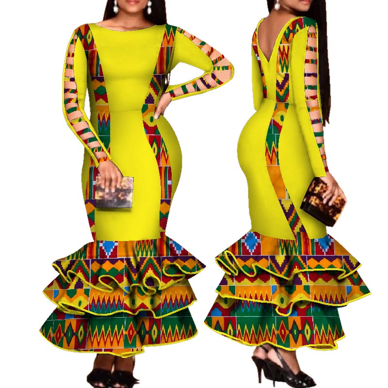 african-clothing-online,African Dress for Women Hollow Bandage Long Sleeve Mermaid Maxi Dresses Women Plus Size Sexy Backless Wedding Party Dress pt2,African Clothing Online,